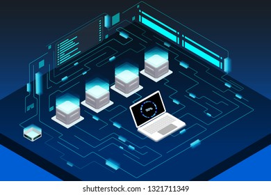 Futuristic Isometric Element Cyber Security Data Storage Vector Background. Big Decentralized Network Cyberspace 3d Scifi Technology Concept Design Illustration.