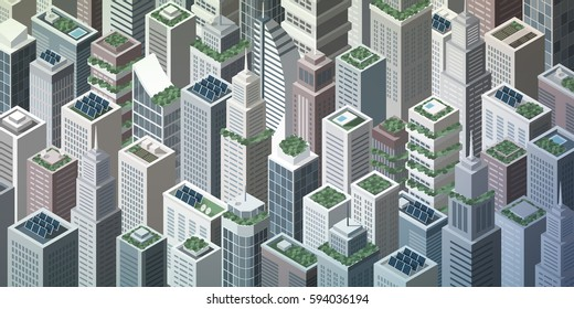 Futuristic isometric green city with rooftop gardens and solar panels on skyscrapers, sustainability and innovation concept