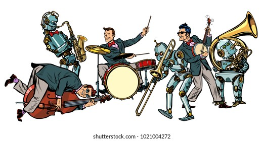 futuristic jazz orchestra of humans and robots, isolated on white background. Pop art retro vector illustration comic cartoon hand drawing