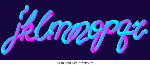 Futuristic jelly font set with letters j, k, l, m, n, o, p, q, r. Ultraviolet neon typeface. Typography vector illustration.