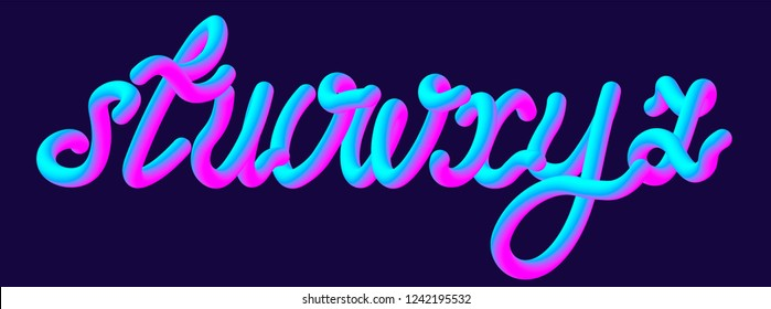 Futuristic jelly font set with letters s, t, u, v, w, x, y, z. Ultraviolet neon typeface. Typography vector illustration.