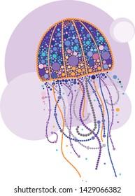 futuristic jellyfish. vector image, pointillism method.