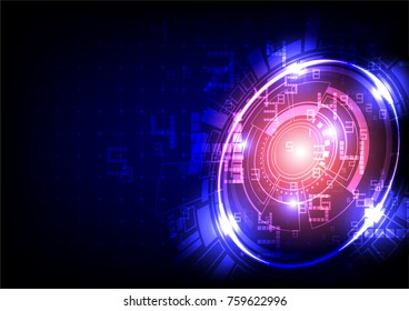 Futuristic light circles with digit numbers on blue and dark background