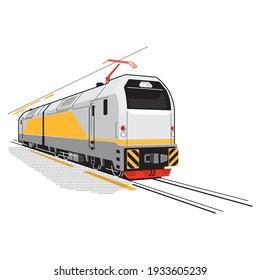Futuristic locomotive. Vector art in gray-yellow tones