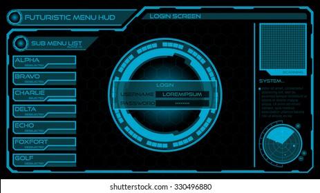 Futuristic Login & Menu Screen HUD Interface