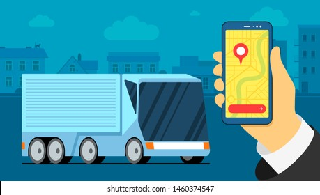 Futuristic logistic cargo truck in urban city. Map navigator location point on smarthphone screen. Business transport tracking delivery monitoring app. Shipment vector illustration