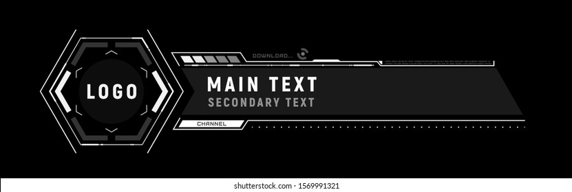 Futuristic lower third. Sci-fi design template for channel, news, information call box bars and modern digital info boxes.  Element of hud interface. Modern information callouts.  Vector illustration.