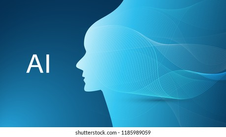 Futuristic Machine Learning, Artificial Intelligence, Cloud Computing, Automated Support Assistance and Networks Design Concept with Wavy Pattern and Human Head