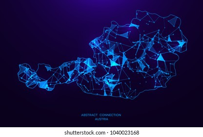 Futuristic map of Austria consisting of connecting lines and points. Polygonal texture. Abstract network connection . Digital country map . Technology vector illustration .