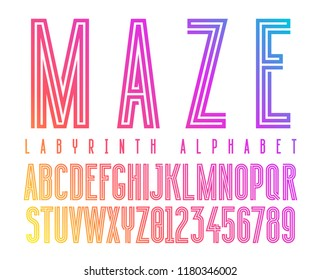Futuristic maze alphabet letters. Geometric labyrinth font on colorful gradient background