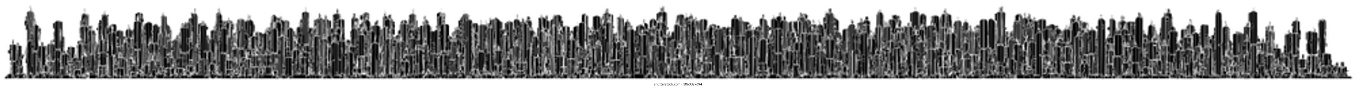 Futuristic Megalopolis City Of Skyscrapers 70. Landscape panoramic futuristic city view.
