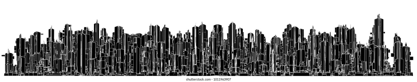 Futuristic Megalopolis City Of Skyscrapers Vector 60. Landscape View.
