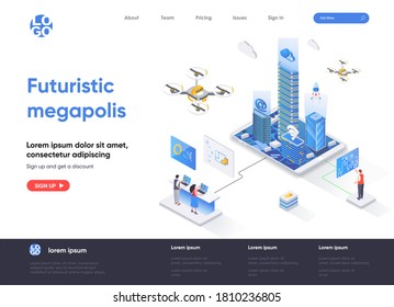 Futuristic megapolis isometric landing page design. Modern architecture and digital technologies isometry concept. Smart city, urban hitech flat web page. Vector illustration with people characters.
