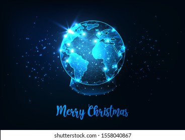Futuristic Merry Christmas  greeting card with illuminated glowing low polygonal snow globe with  planet earth world map on dark blue background. Modern wire frame mesh design vector illustration.