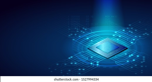 Futuristic microchip CPU with blue lights and effects. Database, processign concept. CPU isometric banner concept. Vector 3D illustration.
