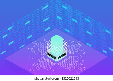 Futuristic Microprocessor Circuit Board Isometric Element Cyber Security Data Storage Vector Background. Big Decentralized Network Cyberspace 3d Scifi Technology Concept Design Illustration.