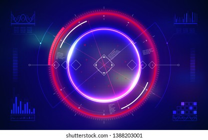 Futuristic military aim. Neon HUD Display. Digital user interface screen. Technology abstract background. Military radar screen dashboard. Interactive target capture system. Vector illustration