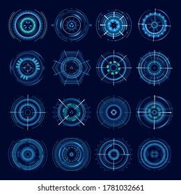 Futuristic military aims, vector optical aiming sci-fi spaceship crosshair, HUD user interface. Modern techno target screen elements, collimator sight, gun targets focus range indication sniper weapon