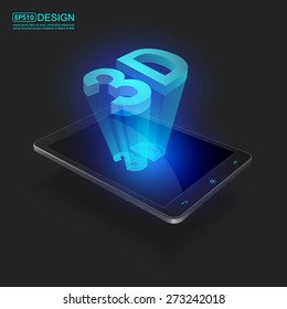 Futuristic Mobile Phones with Holographic 3D word, vector