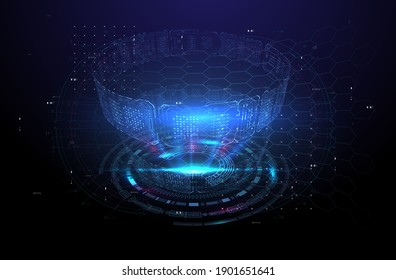 Futuristic modern HUD interface screen design. Abstract futuristic UI on blue background. Abstract vector background. Abstract technology design innovation concept background.