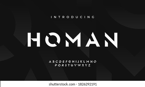 Futuristic modern techno sci fi bold display stencil font, abstract geometric clean monospaced letter set homan typeface