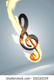 futuristic music note in flame