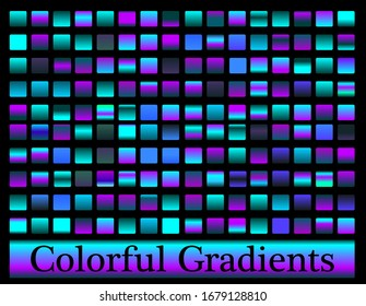 Futuristic neon blue big set collection of gradients, luxury simple modern cover background