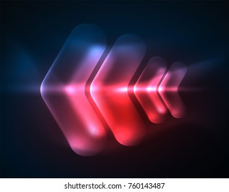 Futuristic neon glowing arrows techno background, abstract 3d technology lines. Transparent direction shapes on color backdrop. Geometric minimal abstract background with light effects