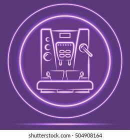 Futuristic Neon Glowing Coffemaker Icon Sensor style. Vector EPS10