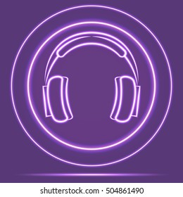 Futuristic Neon Glowing Headphones Icon Sensor style. Vector EPS10