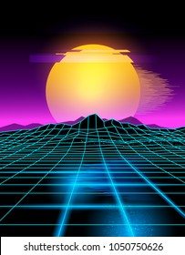 Futuristic neon grid lines and mountain landscape with a neon sun in pink and yellow. Glitch background vector illustration.