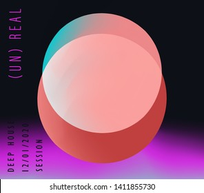Futuristic neon vaporwave/ synthwave/ seapunk style cover for CD, poster for electronic dance music, print for hip-hop rap album. Geometric composition of pastel spheres on gradient vivid background.