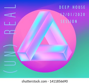 Futuristic neon vaporwave/ synthwave/ seapunk style cover for CD, poster for electronic dance music, print for hip-hop rap album. Unreal moebius triangle or strip.