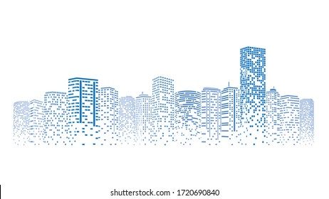 Futuristic night city. Building and urban Illustration, City scene on night time. Design graphic for web page or banner.