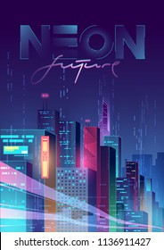 Futuristic night city. Cityscape on a dark background with bright and glowing neon purple and blue lights. Modern cover. Cyberpunk and retro wave style illustration.