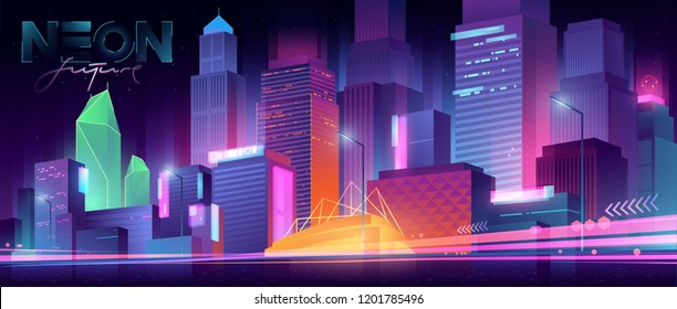 Futuristic night city. Cityscape on a dark background with bright and glowing neon purple and blue lights. Wide highway side view. Cyberpunk and retro wave style illustration.