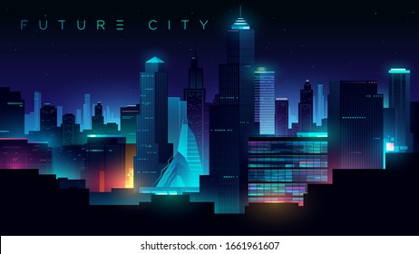 Futuristic night city. Cityscape on a dark background with bright and glowing neon lights. Cyberpunk and retro wave style illustration.