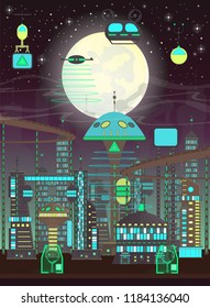 Futuristic  night city set in flat cartoon style.Vertical panorama of a modern city with modern buildings and futuristic traffic: skyscrapers, flying cars and drones. Vector elements for 2D games.