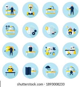 Futuristic office innovations flat icons set. Smart table, remote management, virtual reality and more. Smart technologies. Workplace in future concept. Color vector illustrations with shadow