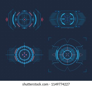 Futuristic optical sight for guns or high tech weapon crosshair, circular aim for modern hud element or radar display. Gaming and hi-tech, cyberspace and gui design, electronic theme
