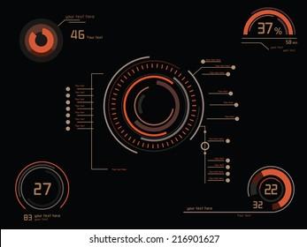 Futuristic orange infographics as head-up display