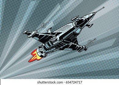 Futuristic outer space battle starship. Pop art retro vector illustration