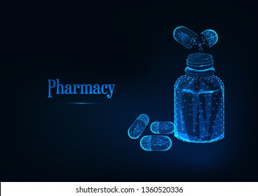 Futuristic pharmacy concept with glowing low polygonal medicine bottle and pills on dark blue background. Wireframe design vector illustration.