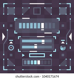 Futuristic Pixel Flat Style User Interface Control Elements Scifi Hi-Tech Set of Vector Icons