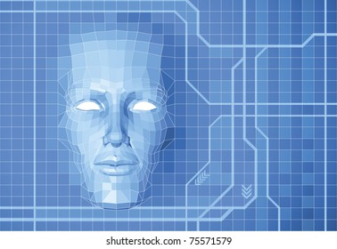 A futuristic polygon face forming out of grid screen conceptual background.