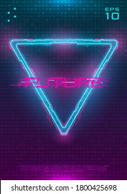 Futuristic poster with illuminated cyberpunk hologram Triangle. Modern template with blue hud neon Triangle with pink printed circuit board. Glow Design for poster, flyer, cover. Cyber vector