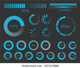 Futuristic Progress loading bar. Set of indicators. Download progress, web design template, interface upload. Vector illustration. EPS 10