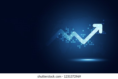 Futuristic raise arrow chart digital transformation abstract technology background. Big data and business growth currency stock and investment economy . Vector illustration