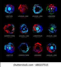 Futuristic reactor abstract colorful vector logo template. Innovative technologies digital design effect logos set on black background.