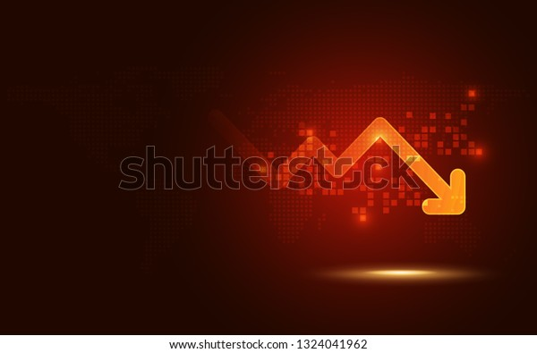 Futuristic red signal trend drop down arrow chart digital transformation abstract technology background. Big data and business growth currency stock and investment indicator of set trade economy